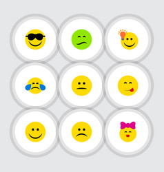 flat icon face set of frown joy sad and other vector image