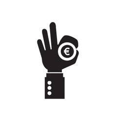 Flat icon in black and white arm coin vector