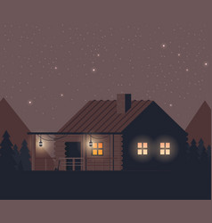 Flat night forest with house vector