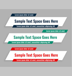 flat style lower third geometric banners vector image