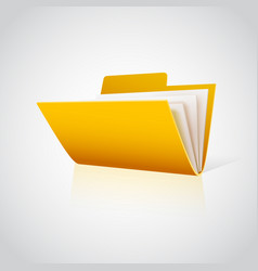 Folder icon with paper on white vector
