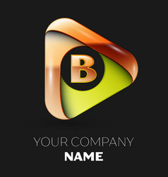 golden letter b logo in the golden-green triangle vector image