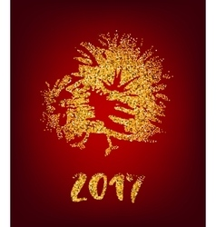 Golden rooster on red background chinese calendar vector