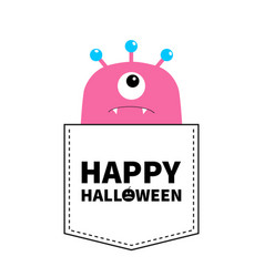 happy halloween pink monster silhouette in the vector image