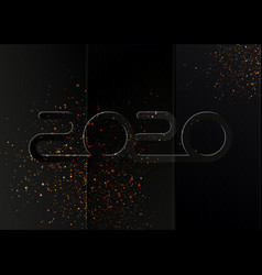 happy new 2020 year black fold paper style vector image