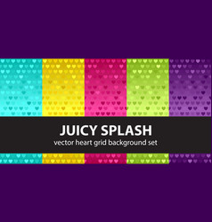 Heart pattern set juicy splash seamless vector
