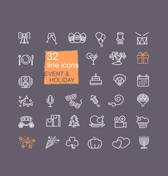 holidays and events set line icons vector image
