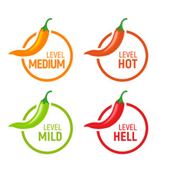 Hot pepper spicy heat level icon chili pepper vector