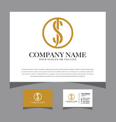 Initials sj logo with a business card vector