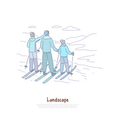 landscape tourism parents with child skiing vector image
