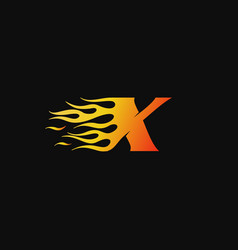 letter x burning flame logo design template vector image