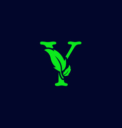 Letter y leaf nature eco green logo template vector