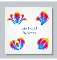 Luxury image logo Rainbow Abstract Flowers Set vector image