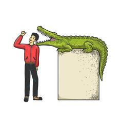 Man puts head in crocodile jaws sketch vector