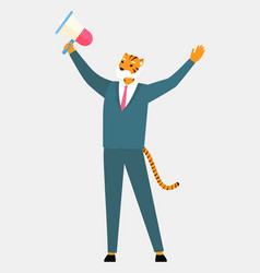 man tiger head and tail holding loudspeaker scream vector image