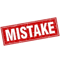 Mistake red square grunge stamp on white vector