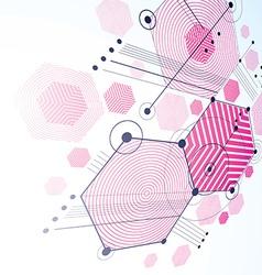 Modular Bauhaus 3d magenta background created from vector