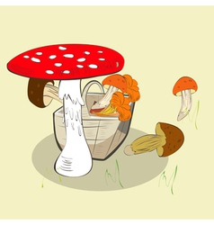 mushrooms in basket vector image