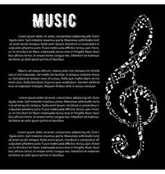 Music arts banner with treble clef and notes vector image