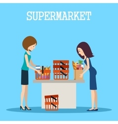 People in a supermarket with purchases vector image