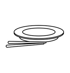 Plate and chopsticks food chinese outline vector