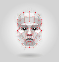 polygonal human face on light futuristic concept vector image
