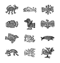 Pre hispanic icons collection set vector