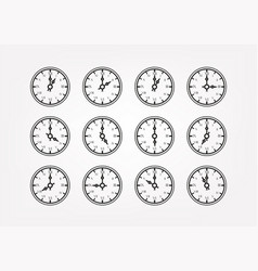 retro style clock silhouettes with different vector image