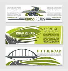 road highway crossroad and bridge banner set vector image
