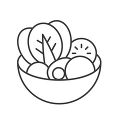 Salad in bowl outline icon vector