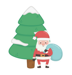 santa with bag and tree snow decoration merry vector image