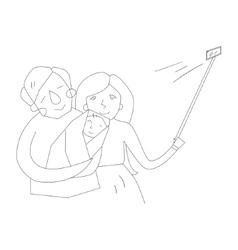 Selfie family photo vector