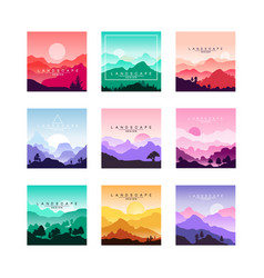 Set minimalistic flat original landscapes vector