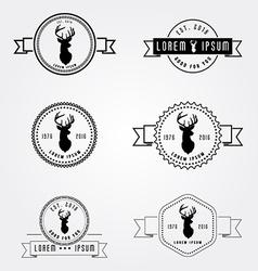 Set of badges labels hipster logo deer head vector