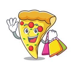 shopping pizza slice character cartoon vector image