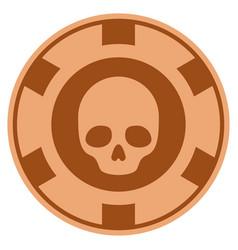 Skull copper casino chip vector