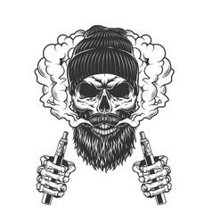 Skull wearing beanie hat in smoke cloud vector