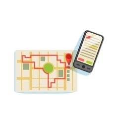 Smartphon And App To Plan The Running Route On The vector image