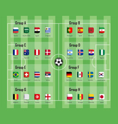 Soccer cup 2018 team group and national flags vector