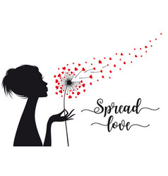 Spread love woman holding dandelion with hearts vector