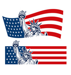 Statue of liberty nyc usa flag symbol vector