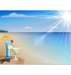 Summer beach juice and sunglasses vector