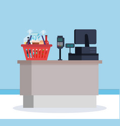 Supermarket sale point with shopping basket vector