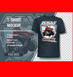 T-shirt mock-up template with atv impossible vector