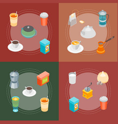 tea and coffee banner card set 3d isometric view vector image