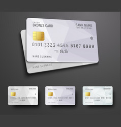 Templates for design of a credit debit bank card vector