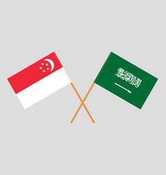 The singaporean and ksa flags vector