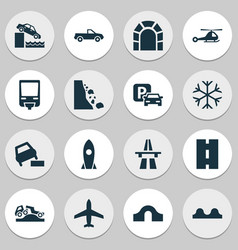 Transport icons set with hump bridge dangerous vector