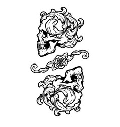 two skulls in vintage style vector image