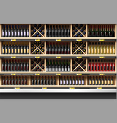 Various bottles of wine display on shelf vector